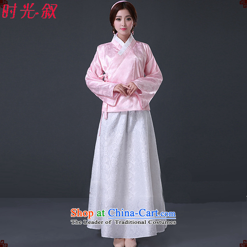 Syria Han-time female princess fairies skirt clothes ladies improved female Han-You can multi-select attributes by using women's ancient skirt around the collar of ancient single tracks in deep yi formal summer Algeria skirt Pink