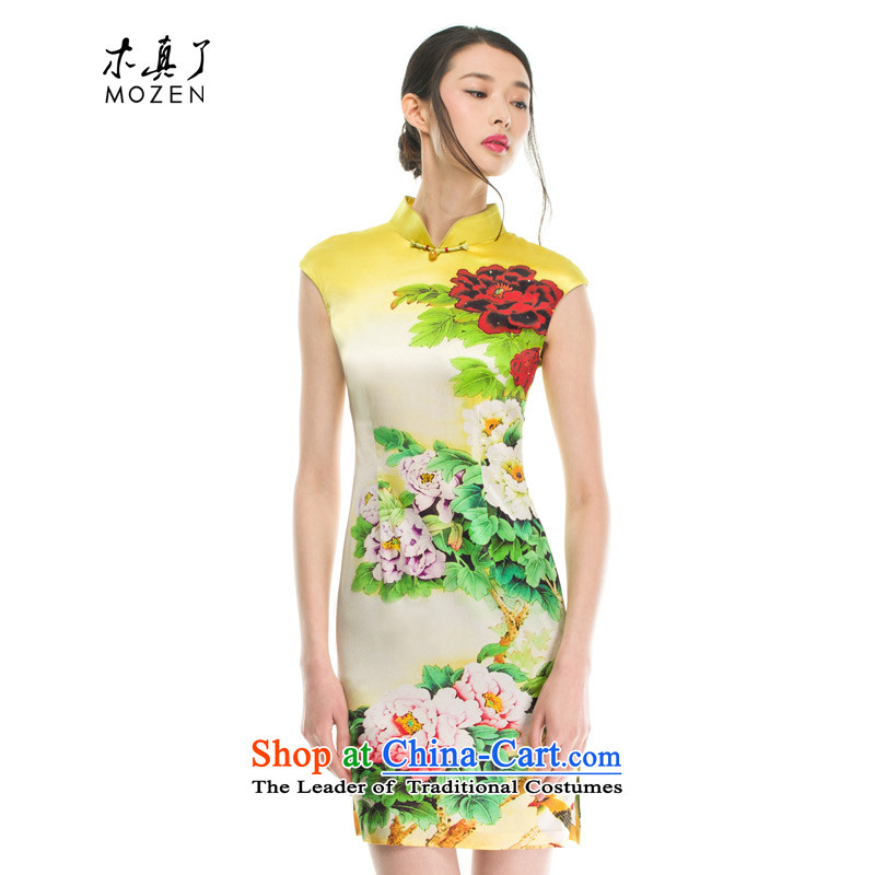 The women's true   Mudan Silk Cheongsam 2015 Stamp summer new products 32362 12 Dark Yellow?M