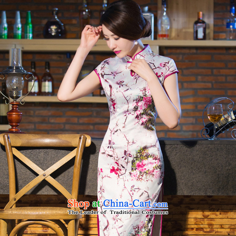 It new cheongsam dress Chinese water droplets Mock-neck Ms. retro graphics thin improved long gown incense strive daily qipao?XL