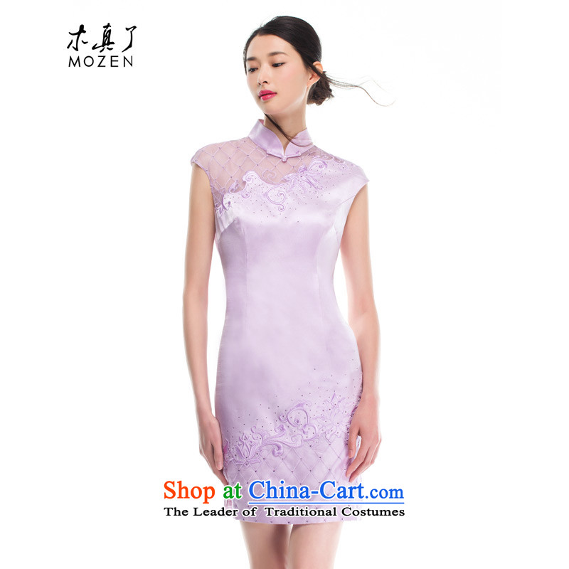 The 2015 summer wood really new stitching OSCE root yarn crystal embroidered drill elegance cheongsam dress 53408 Female 19 light pink燣