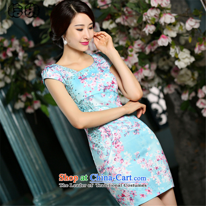 The 2015 summer, pickup stylish improved round-neck collar Sau San qipao Sau San video thin package and embroidery dresses Ms. elegant temperament fresh dress blue燲L