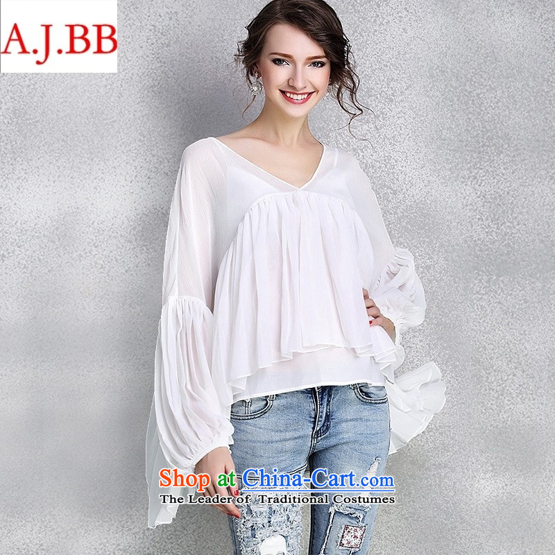 Orange Tysan _2015 early autumn female new clothes for larger women loose V-Neck lanterns cuff large white?M, forming the shirt