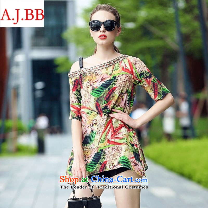 Orange Tysan * Women's Summer new small-quality culture silk stamp sexy shoulder T-shirt picture color?S