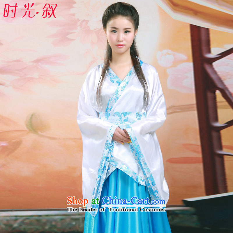 Syria classical Han-time female Han-track civil ancient clothing Han-girl summer improved Han-ju skirts and dress photo album Han-women's clothing girls skirt fairies princess serving light blue photo building are suitable for 160-175cm code