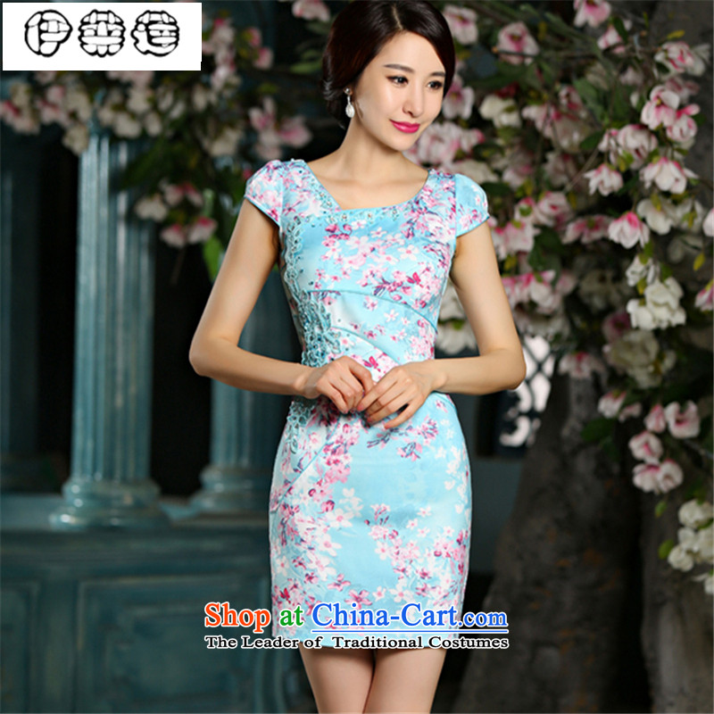 Hirlet summer 2015, improvement of Ephraim jacquard water drilling qipao short-sleeved skinny fresh package video     and dresses, temperament Embroidery Stamp dress blue Chinese?XL