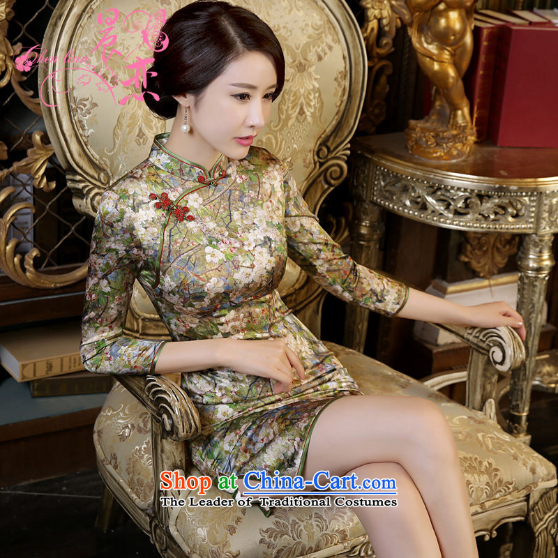 Land 2015 autumn morning new Stylish retro short, long-sleeved improved heavyweight silk cheongsam dress following suit 155/S Mui