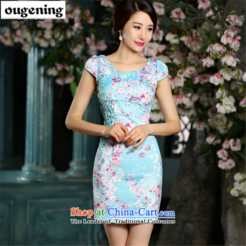The OSCE, 2015 summer, improvement of lemonade jacquard water drilling qipao short-sleeved skinny fresh package video     and dresses, temperament Embroidery Stamp dress blue Chinese燲XL