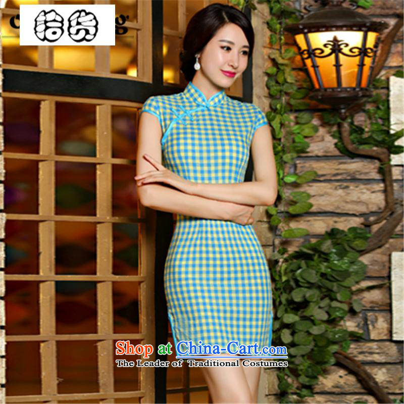 The 2015 summer, pickup improved arts plaid qipao of the forklift truck and skinny video fresh republic of korea Sau San Air package and dresses, temperament Chinese Dress green聽L