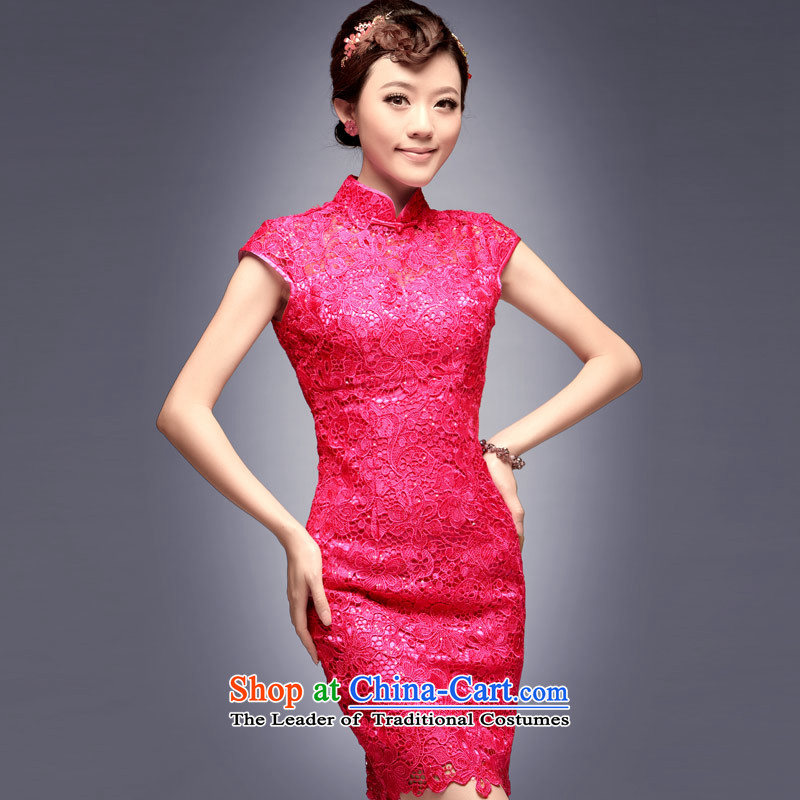 Eason Chan point new 2015 ethnic betrothal services and sexy lace of Sau San short of marriage red cheongsam dress bows of services red燲L