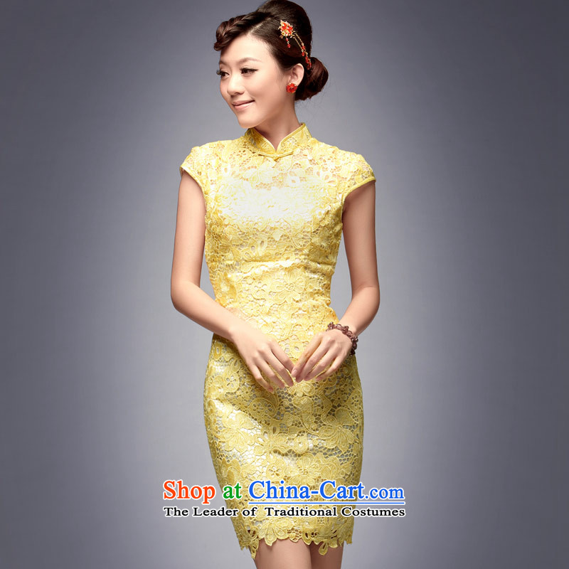 Eason Chan point new bride 2015 betrothal back door Dress Short of Sau San performances everyday upscale qipao banquet Yellow燤 after the payments for about a week shipment