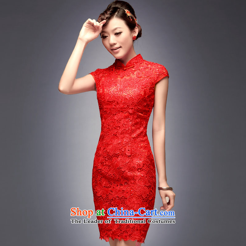 Eason Chan point cheongsam wedding dress Chinese Disc detained the summer and fall of 2015 New boxed short, Wedding banquet service back door noble bows as graphics thin toasting champagne decorated serving a large red燲XL payment for about a week shipmen