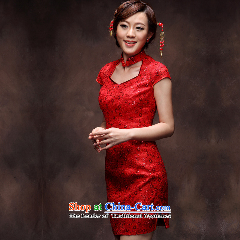 Eason Chan point bows services 2015 new bride qipao improved lady small stylish Chinese style wedding dresses evening temperament wedding dresses, short red XXL payment for about a week shipment