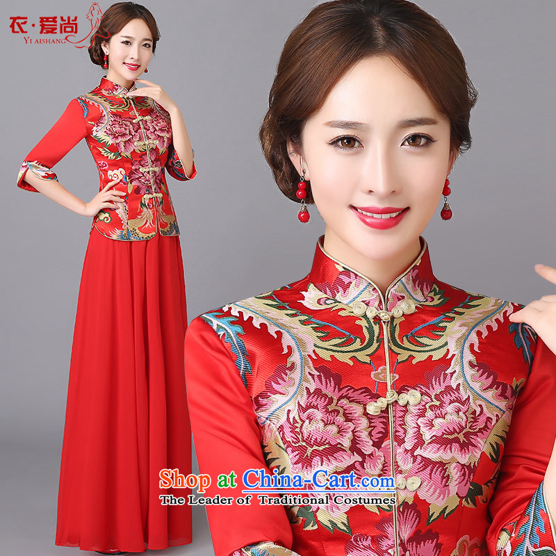 The new 2015 wedding dresses marriages CHINESE CHEONGSAM red long bows services serving women in spring and summer qipao red can be made plus $30 Does Not Return