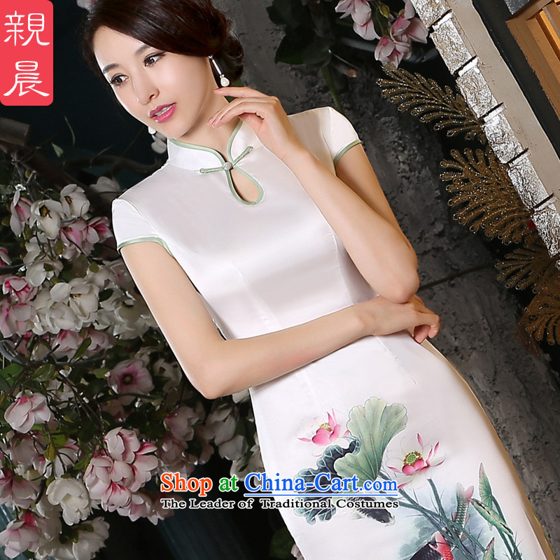 The pro-am porcelain cotton qipao new 2015 summer daily improvement in the medium to long term, Sepia cheongsam dress female picture color?S