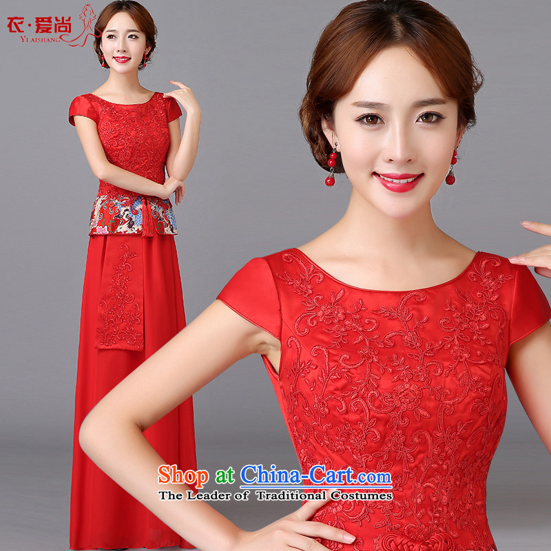 The bride wedding dress bows services spring and summer skirts qipao new stylish retro look red 2015 Sau San back to short of Qipao door can be made plus _30 Does Not Return