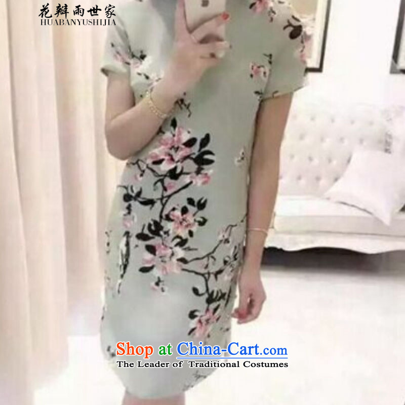 The family?  should be retro petals rain stamp cheongsam dress suit short-sleeved dresses Bai B2048298086 green?M