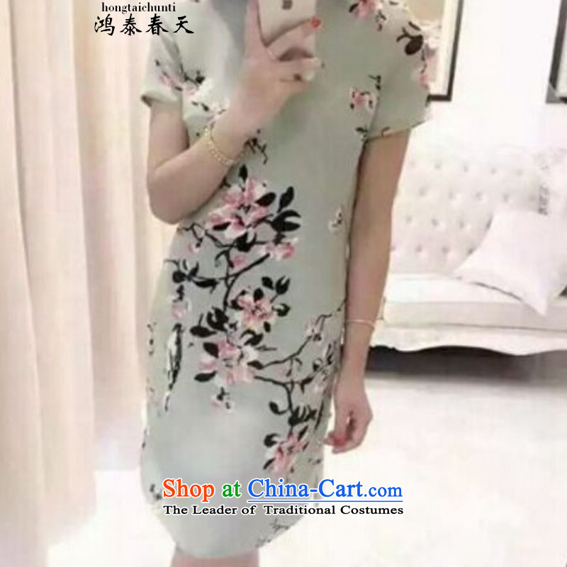 Hong Tai spring? �� retro stamp cheongsam dress suit short-sleeved dresses Bai B2048298086 green?M