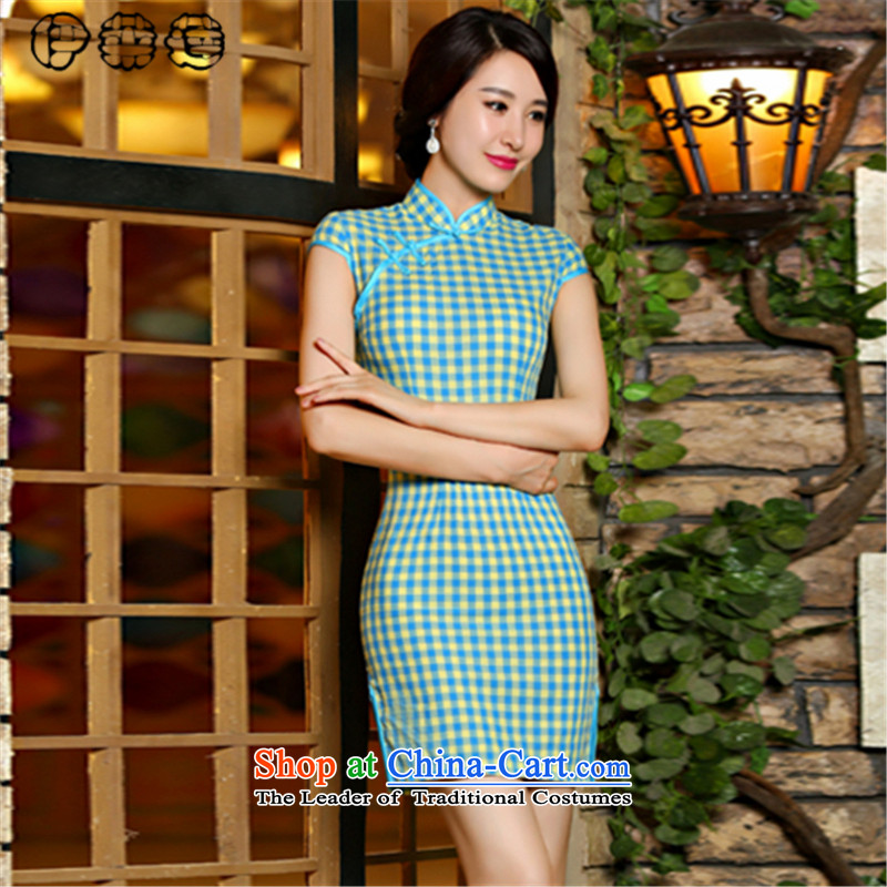 Hirlet summer 2015, improvement of Ephraim arts plaid qipao of the forklift truck and skinny video fresh republic of korea Sau San Air package and dresses, temperament Chinese Dress Blue聽M