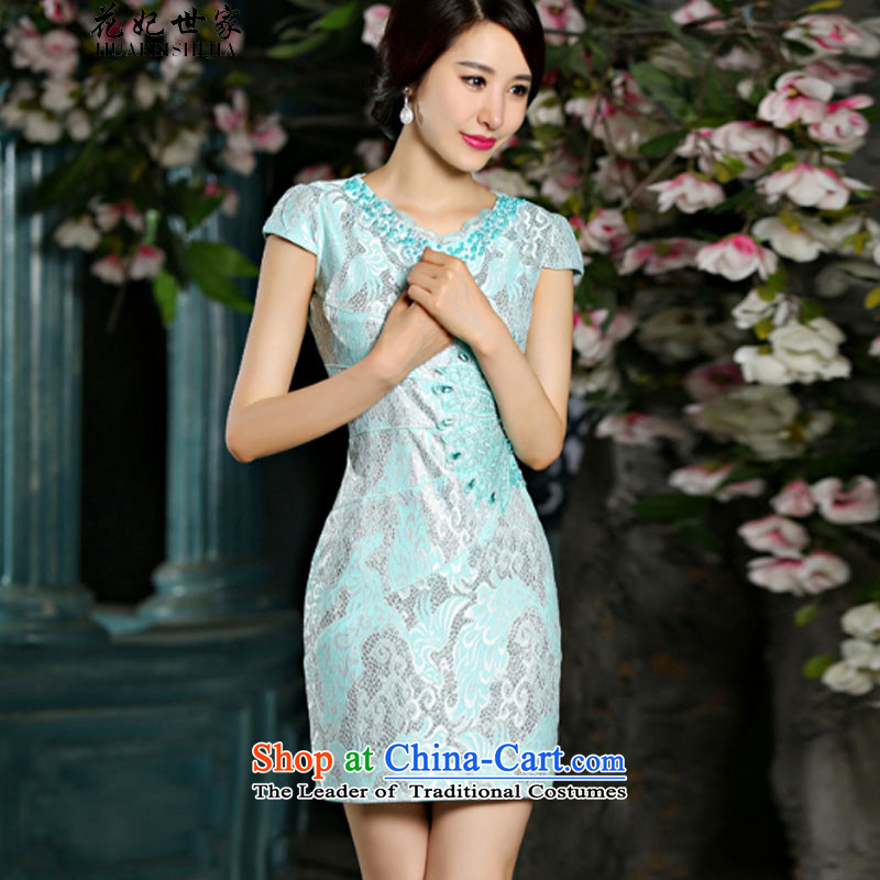 Take concubines and summer family new Stylish retro short of qipao dresses female C321D902080 light green燲XL