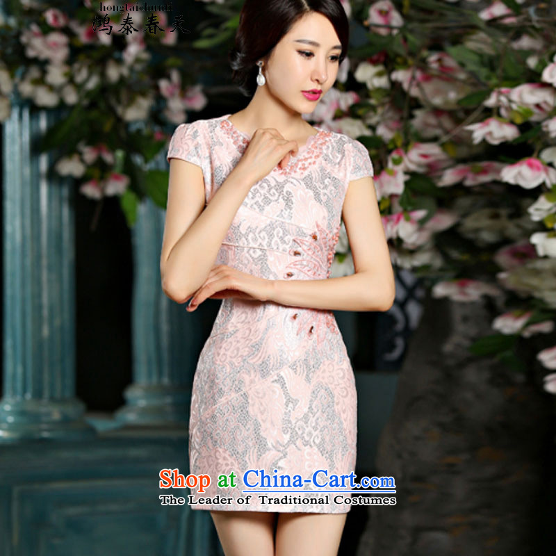 Hong Tai spring? �� summer new Stylish retro short of qipao dresses C321D902080 female Red?M