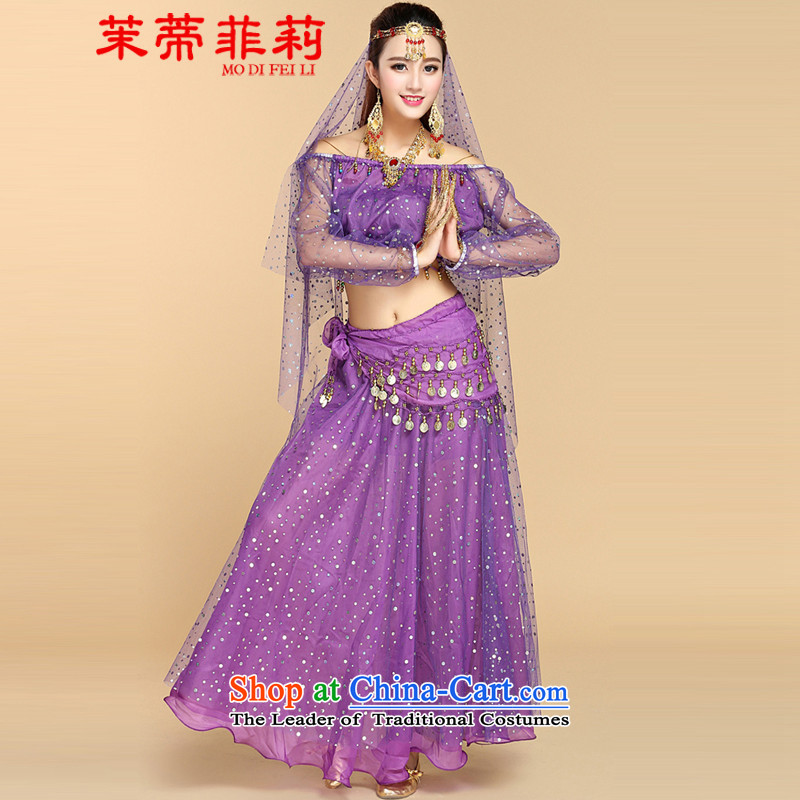 Energy Tifi Li belly dancing Kit 2015 new ethnic women serving Indian dance performances activity service kit with 6 Purple