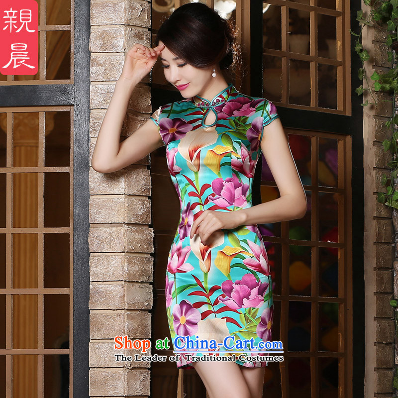 The pro-am Silk Cheongsam 2015 summer in New long skirt herbs extract routine autumn cheongsam dress short of improved燤