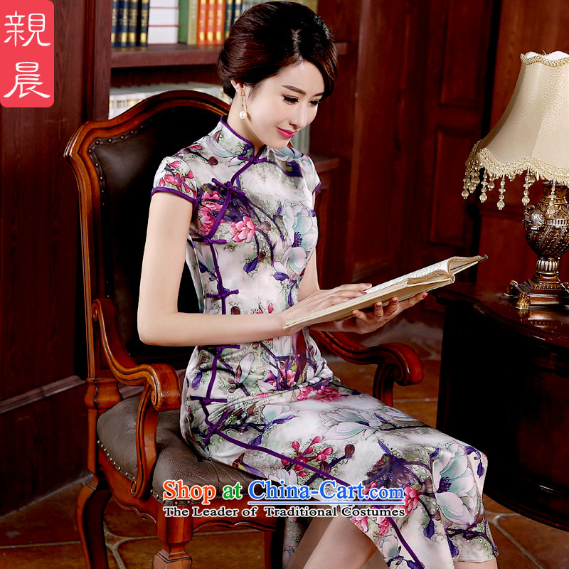 The pro-am qipao new summer and fall of 2015 with short-sleeved dresses, day-to-day long cheongsam dress improved stylish long S