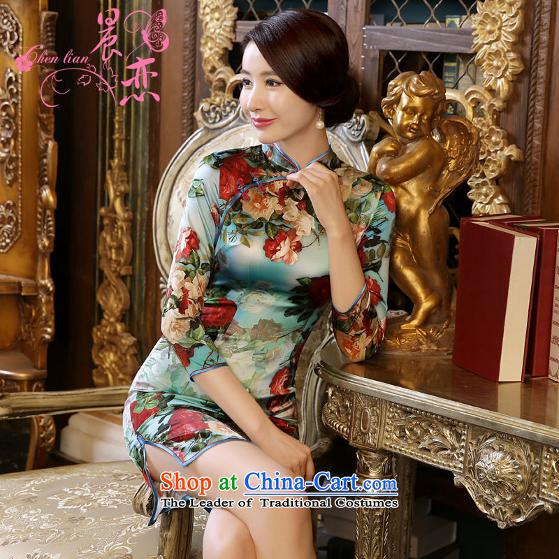 Land 2015 autumn morning new Stylish retro short, long-sleeved improved heavyweight silk cheongsam dress suit�5_S in Blue