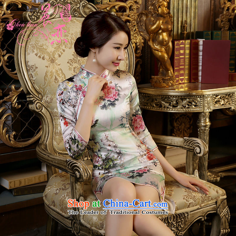 Land 2015 autumn morning new Stylish retro short, long-sleeved improved heavyweight Silk Cheongsam Dress Suit Mudan燣