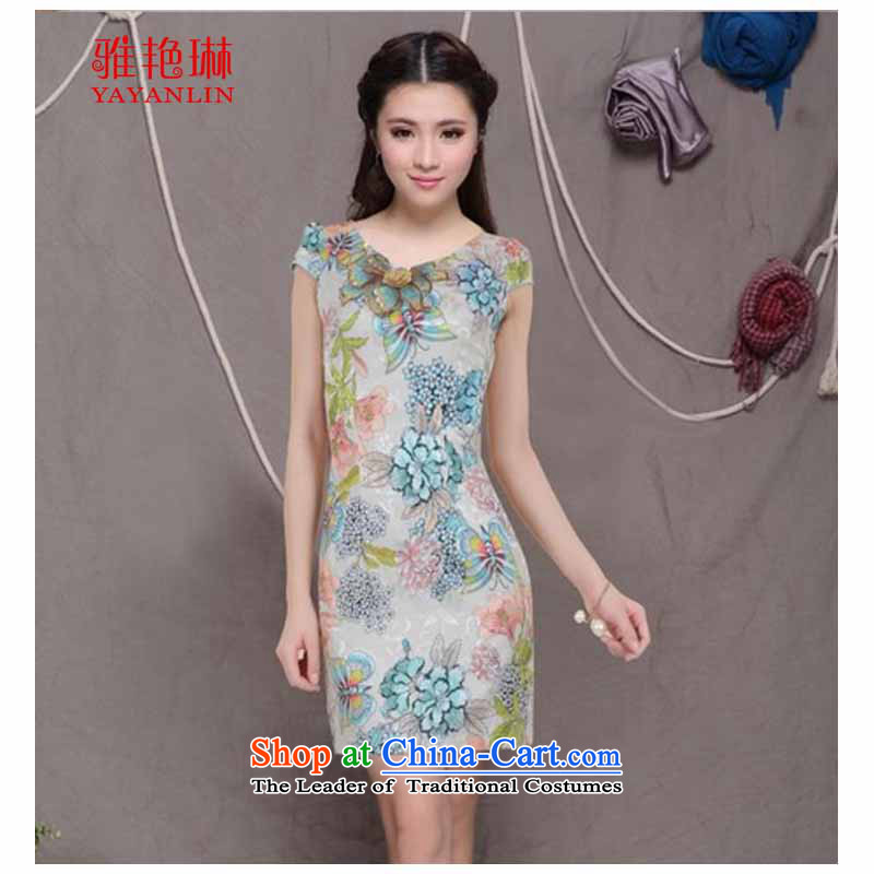 Ya Yun Lin 2015 Chinese qipao stylish qipao embroidered dress retro Sau San video thin cheongsam apricot color has been shipping M