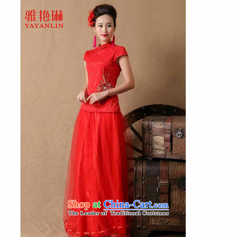 Ya Yun Lin 2015 marriages gift cheongsam dress red long bows evening dress stylish W2F C2090-6646 RED燲L