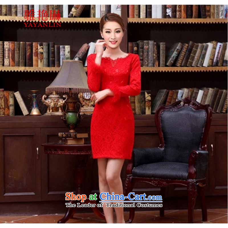 Ya Yun Lin 2015 bride wedding dress retro style summer short of improved red bows services cheongsam dress qipao W2F C2090-66 short-sleeved�XL