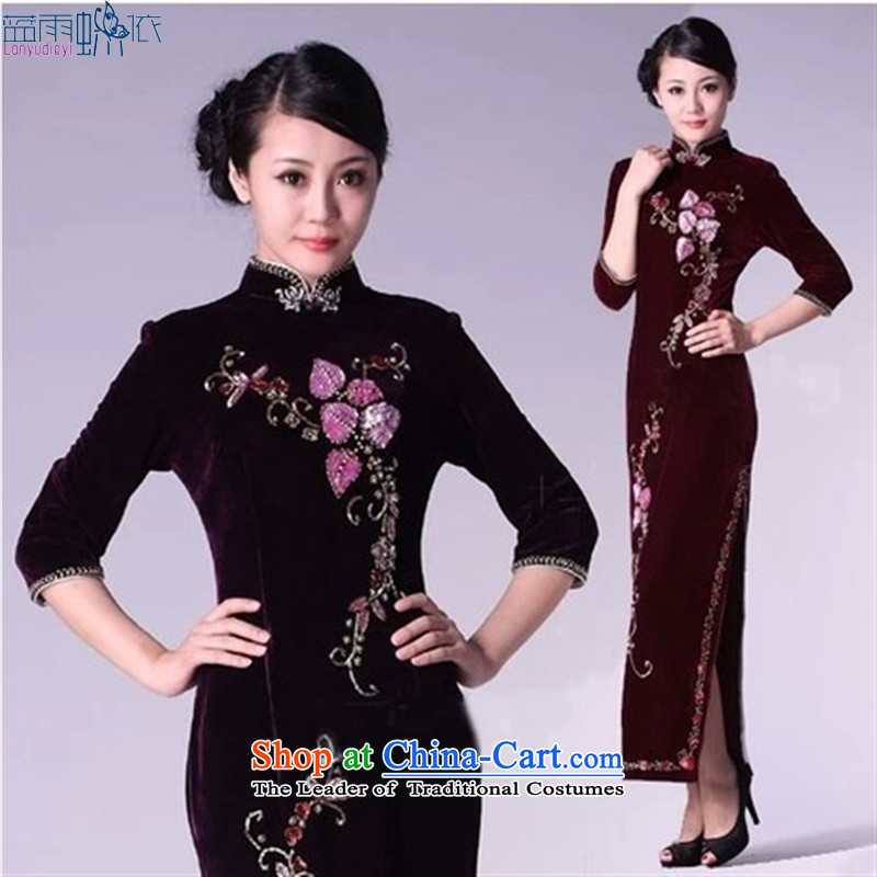 Long skirt qipao mother Kim velvet marriage ceremony dress in Sau San older will fall in the purple cuff S