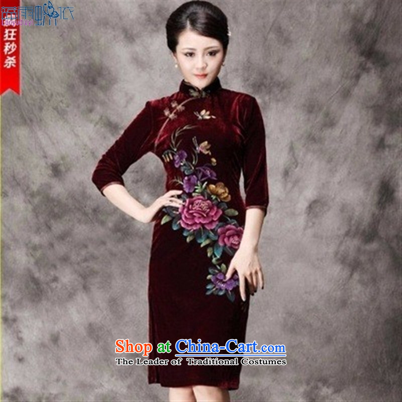 In the long-sleeved Kim qipao hand-painted silk peony flowers in older married mothers with dress Tang dynasty 8868 _Maroon short-sleeved_ XL