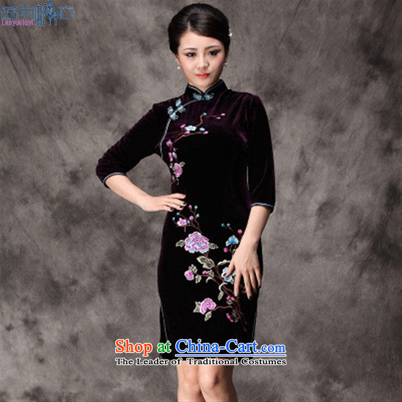 2015 Spring New Products retro-cashmere middle-aged moms embroidery Phillips qipao marriage banquet dress in black uniforms show cuff燲XL