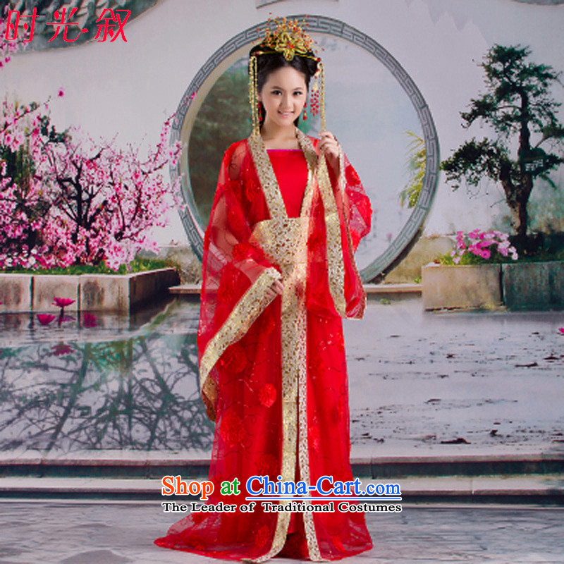 Syria Han-time female princess fairies skirt clothes ladies stage costumes costume fairies replacing Han-track improvement in ancient clothing Tang Dynasty Halloween red floor are suitable for 160-175cm code