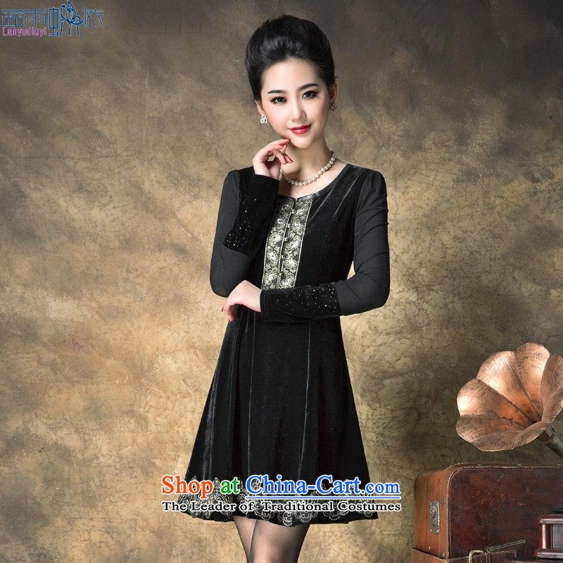 Install the new mother 2015 Autumn replacing dresses embroidered scouring pads for larger video thin long-sleeved black dress code XXL