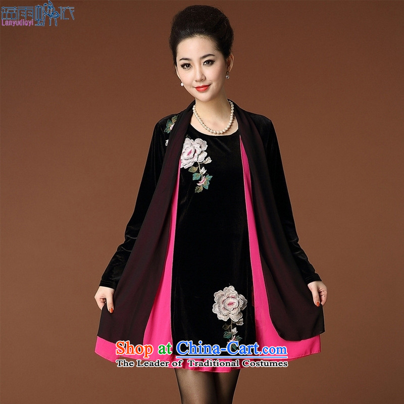 The autumn 2015 new products for larger women leave two long-sleeved shirt in the older embroidery Kim velvet black and red�L