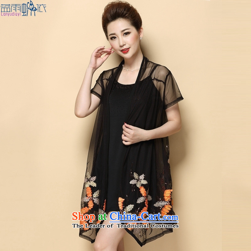 Thick mm Summer 2015 large embroidered dress in older MOM pack dresses female two sets of picture color Large XXXL code