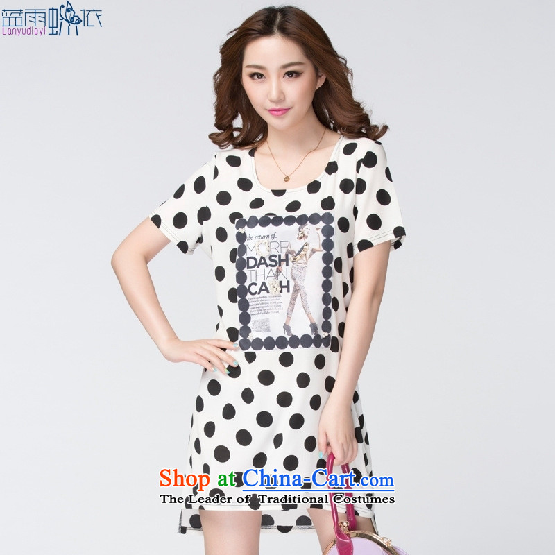The Korean version of large stylish 2015 Code women new stamp major waves of snow woven dresses Sau San black large XXXL code