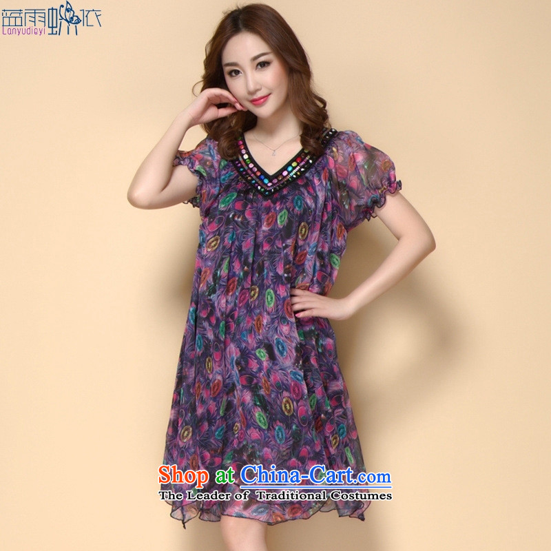 2015 Summer new larger female thick MM loose stamp graphics thin temperament dresses black聽XXL