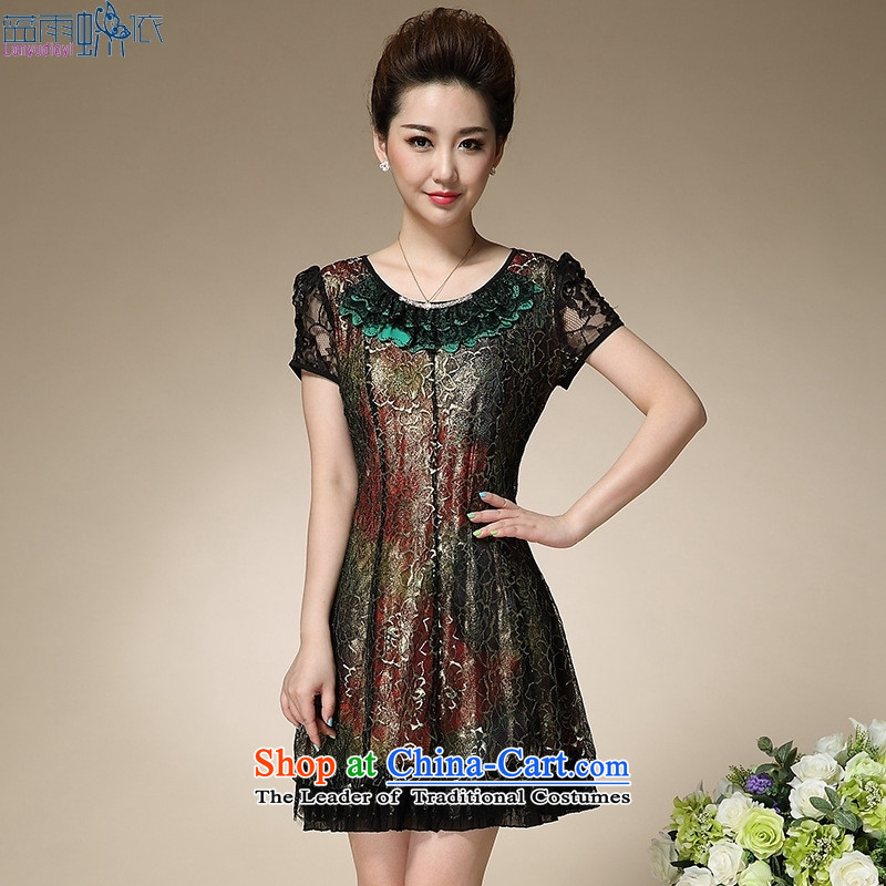29ec74f3bd0 The elderly in the lady dresses 40-50-year-old summer older summer load  mother lace dresses green 4XL