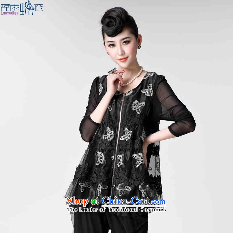 Replace the autumn 2015 mother load new Korean version of the butterfly yarn embroidery video thin long-sleeved shirt large golden XXL