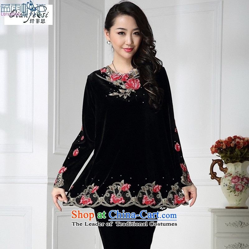 In spring and autumn 2015 older packaged New embroidered velvet large long-sleeved T-shirt with older black mother�XXL