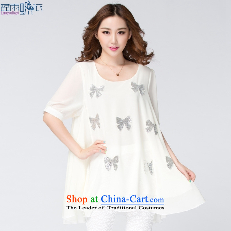 Large 2015 Women's Summer new Korean loose stamp chiffon dress code XXXXL large white