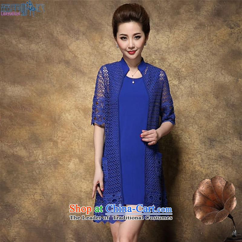 2015 Summer new thick MM video thin temperament two kits dresses temperament engraving large large blue skirt XXXL code