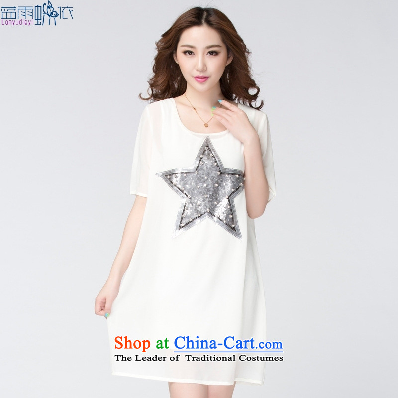 2015 Summer new large Korean cuff two kits thick mm loose chiffon dresses large white code L