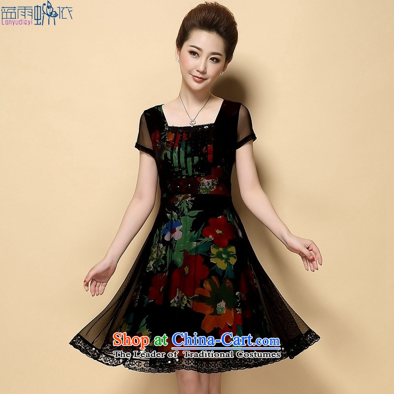 Summer 2015 new larger lace dresses middle-aged mother replacing stamp skirts temperament large?3XL Safflower
