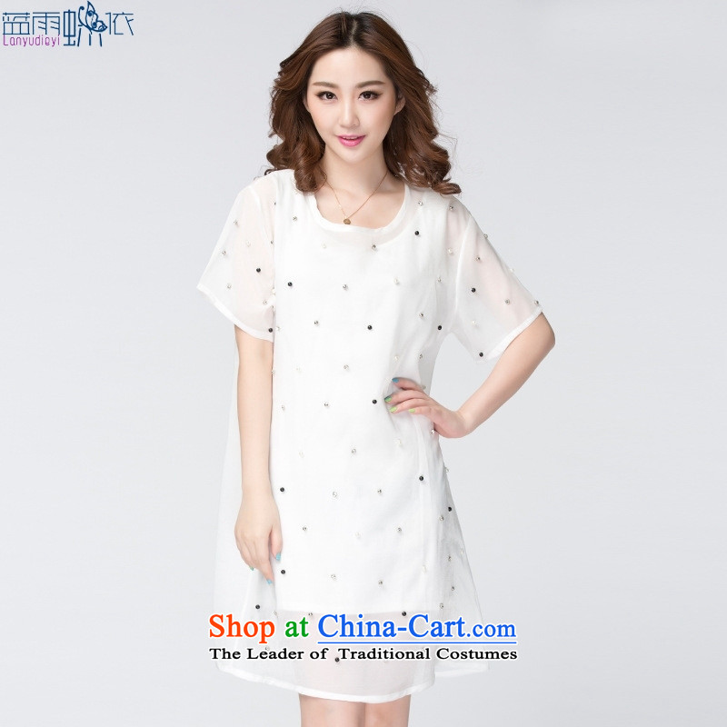 Large 2015 Women's Summer Korean Wave point two kits chiffon thick mm larger dresses black large XXXXL code