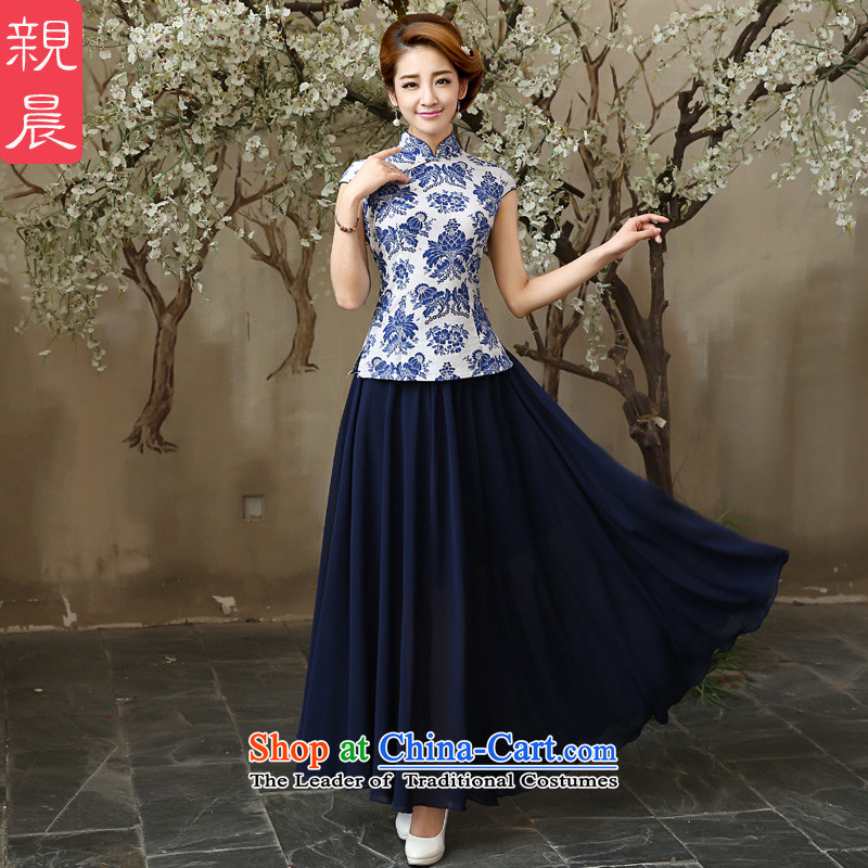 The pro-am porcelain cheongsam Clothes Summer 2015 new daily ethnic cotton linen, Sau San stylish shirt +SZZH improved blue skirt chiffon�M